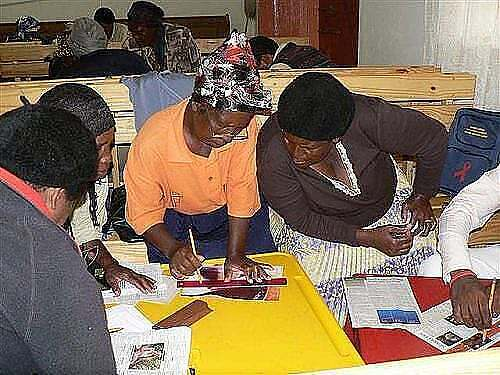 Women busy on a project