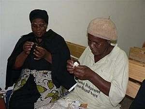 Women making beads