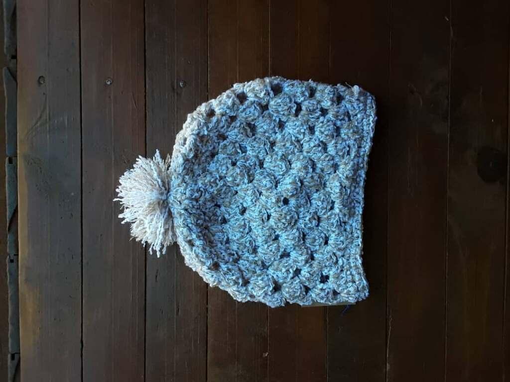Light blue crocheted hat